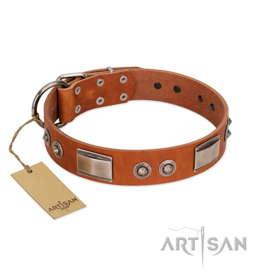 """Pawsy Glossy"" FDT Artisan Exclusive Tan Leather Great Dane Collar 1 1/2 inch (40 mm) wide"