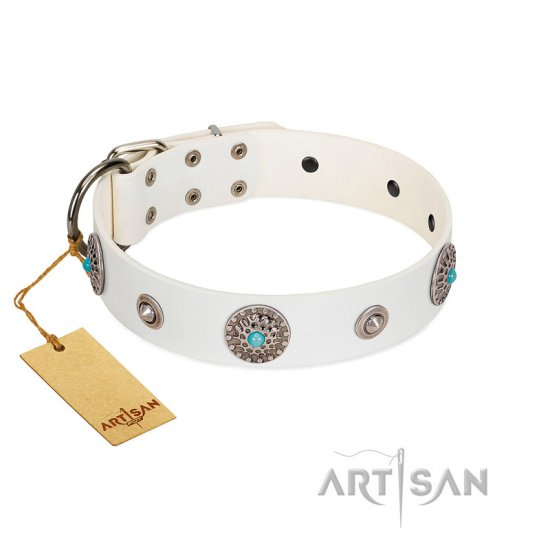 """Lush Life"" Designer Handcrafted FDT Artisan White Leather Great Dane Collar with Blue Stones"