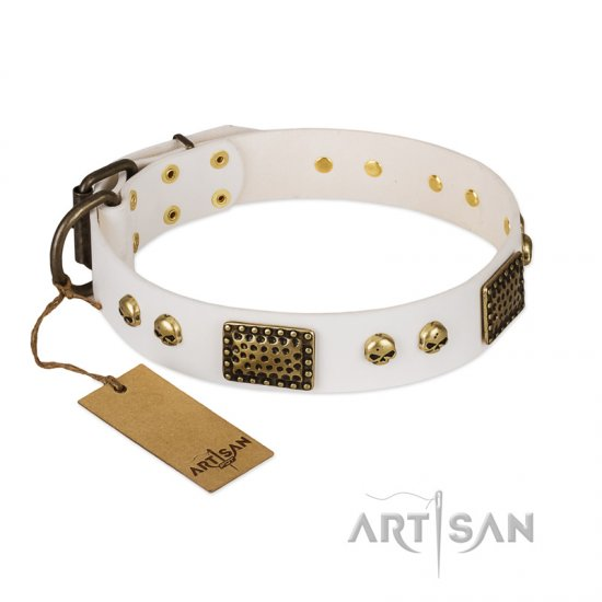 """Lost Treasures"" FDT Artisan White Leather Great Dane Collar with Old Bronze Look Plates and Skulls"
