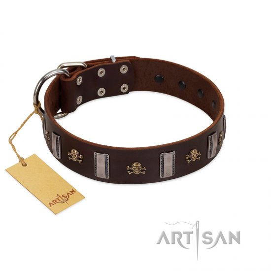 """War Chief"" FDT Artisan Genuine Brown Leather Great Dane Collar with Skulls and Plates"