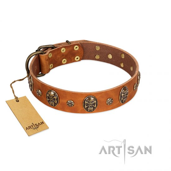 """Rockstar"" FDT Artisan Tan Leather Great Dane Collar with Engraved Studs and Medallions"