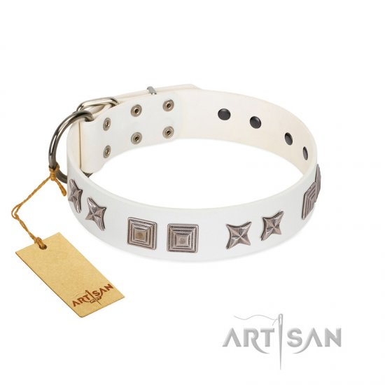"""Mister Perfection"" Designer Handmade FDT Artisan White Leather Great Dane Collar"