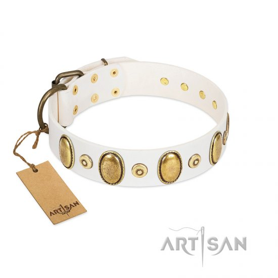 """Pearly Grace"" FDT Artisan White Leather Great Dane Collar with Engraved Ovals and Small Dotted Studs"