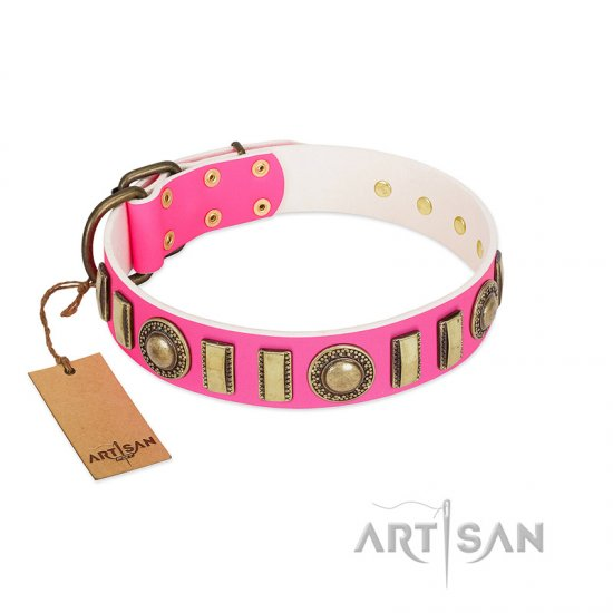 """La Femme"" FDT Artisan Pink Leather Great Dane Collar with Ornate Brooches and Small Plates"
