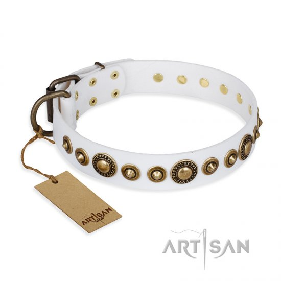 """Swirl of Fashion"" FDT Artisan Delicate White Leather Great Dane Collar with Stunning Bronze-Plated Round Studs"