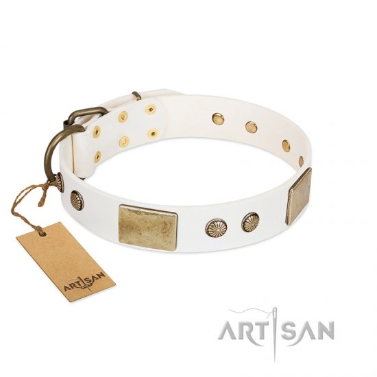 """Pure Elegance "" FDT Artisan White Decorated Leather Great Dane Collar - 1 1/2 inch (40 mm) wide"