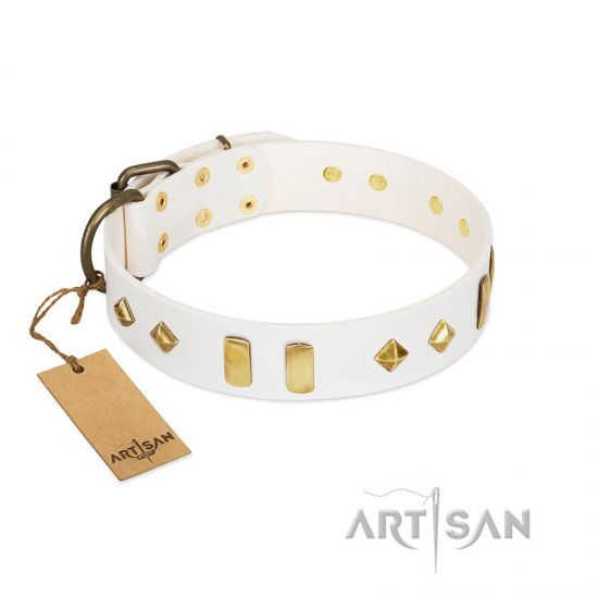 """Hella Cool"" FDT Artisan White Leather Great Dane Collar Adorned with Plates and Rhombs"