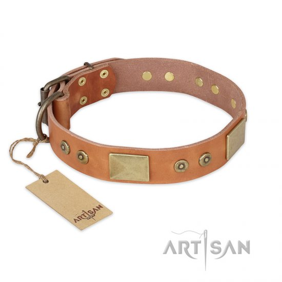 """The Middle Ages"" FDT Artisan Handcrafted Tan Leather Great Dane Collar"