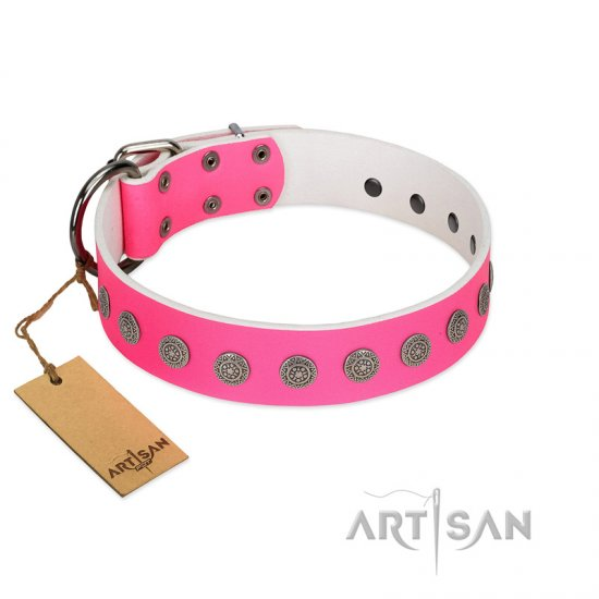 """Pop Star"" Handcrafted FDT Artisan Pink Leather Great Dane Collar with Round Plates"
