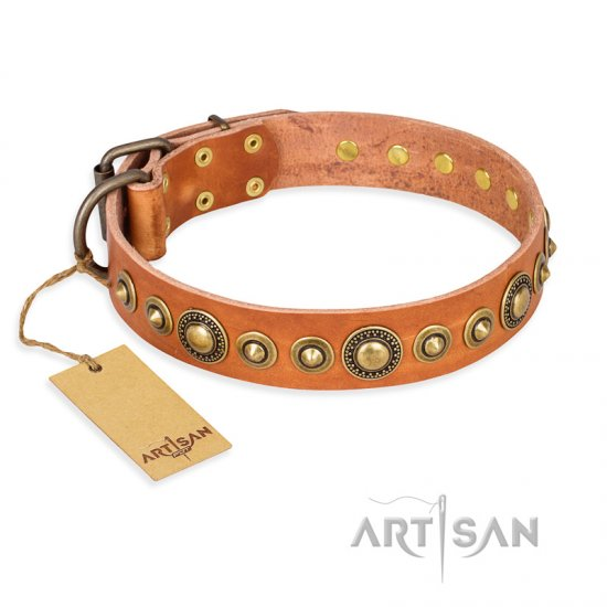 """Feast of Luxury"" FDT Artisan Tan Leather Great Dane Collar with Old Bronze Look Circles"