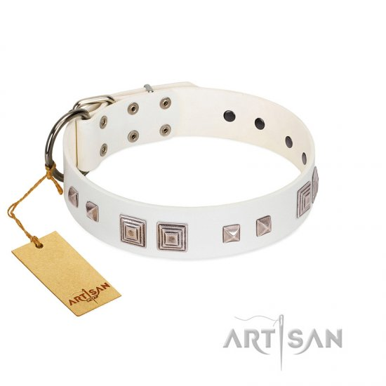 """Pure Quadratic"" Designer Handmade FDT Artisan White Leather Great Dane Collar"
