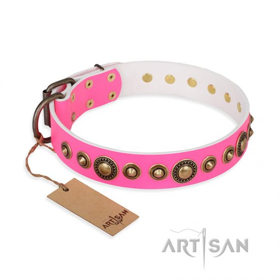 """Pink Gloss"" FDT Artisan Leather Great Dane Collar with Old-Bronze Plated Circles and Studs"
