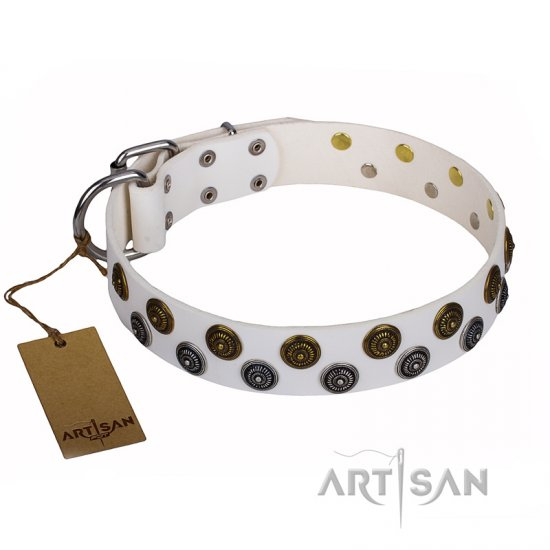 """Snowflake"" FDT Artisan White Leather Great Dane Collar with Two Rows of Circles"