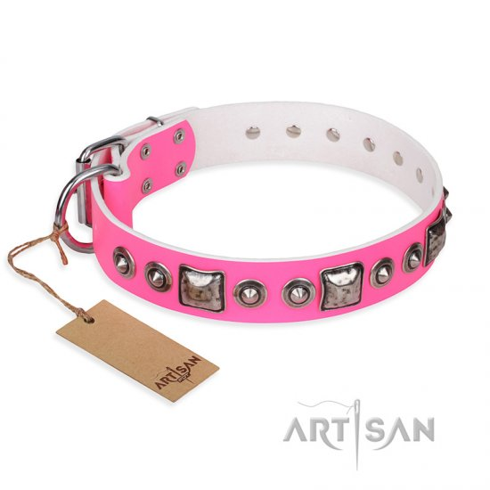 """Pink Dream"" FDT Artisan Leather Great Dane Collar with Silvery Decorations"
