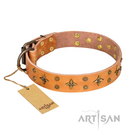 'Top-Flight' FDT Artisan Adorned Tan Leather Great Dane Collar - Click Image to Close