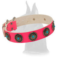Pink Leather Dog Collar for Great Dane everyday activities