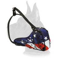 American Flag Leather Great Dane Muzzle for Agitation Training