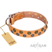 """Precious Sparkle"" FDT Artisan Tan Leather Great Dane Collar for Walking in Style"