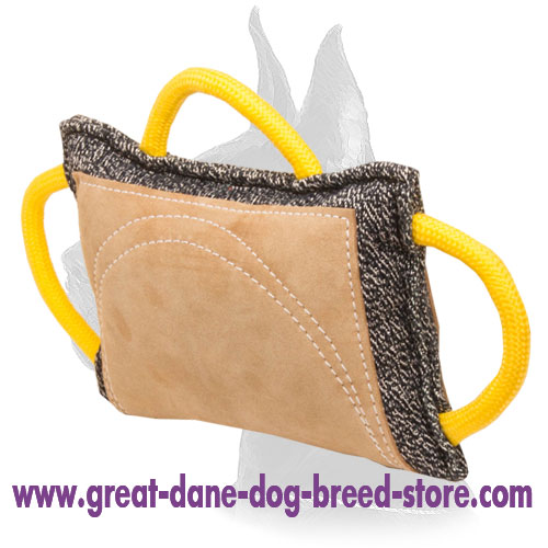 Improved Design French Linen and Leather Great Dane Bite Pad