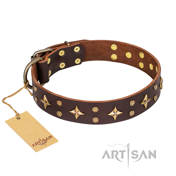 Exquisite full grain natural leather dog collar for handy use