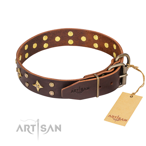 Daily walking natural genuine leather collar with decorations for your pet