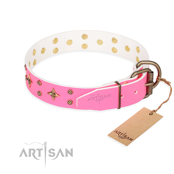 Everyday walking natural genuine leather collar with embellishments for your canine
