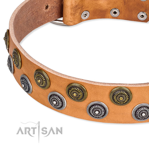 Genuine leather dog collar with trendy decorations