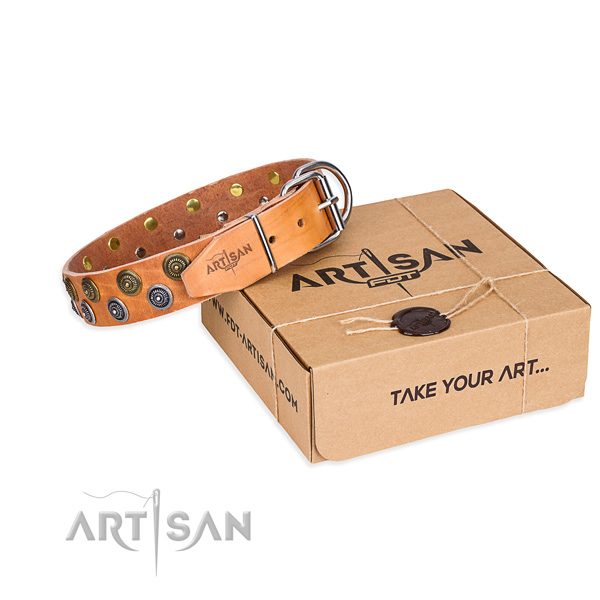 Natural genuine leather dog collar with adornments for handy use