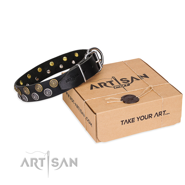 Natural genuine leather dog collar with adornments for walking
