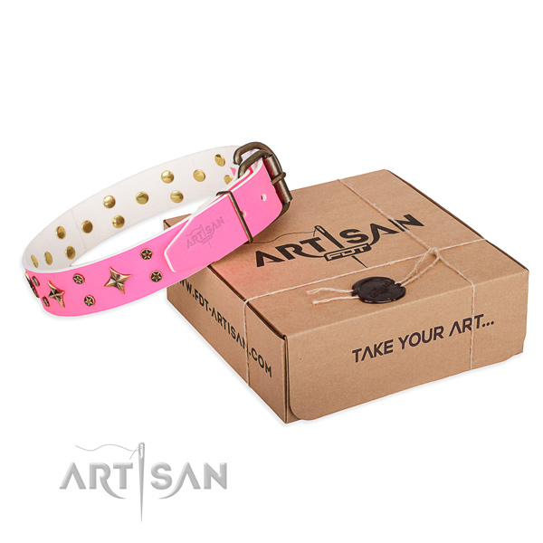 Studded leather dog collar for comfy wearing
