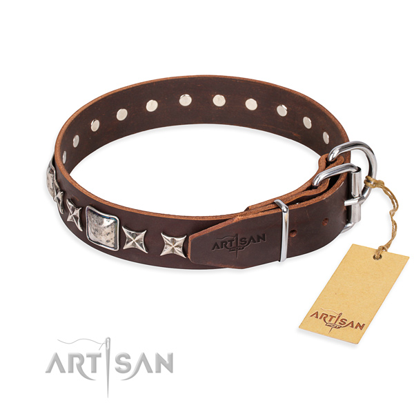 Everyday walking full grain genuine leather collar with embellishments for your four-legged friend