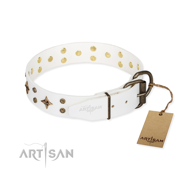 Everyday use natural genuine leather collar with decorations for your dog