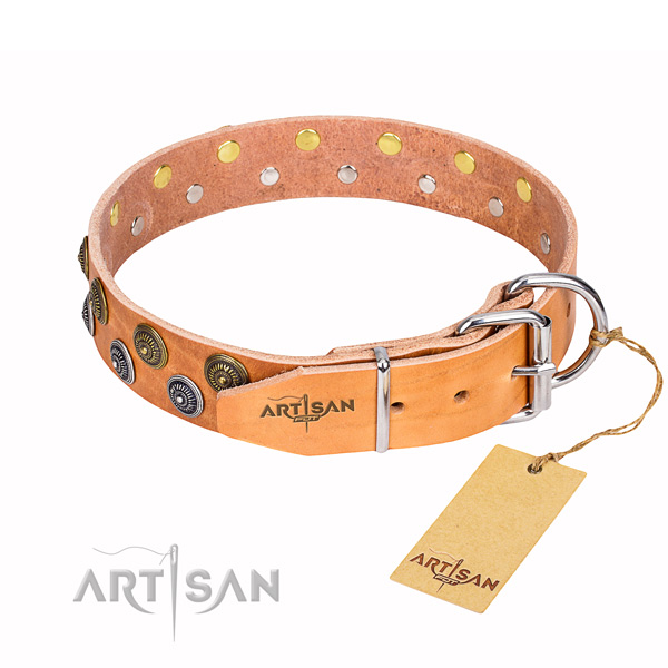 Exquisite genuine leather dog collar for daily use