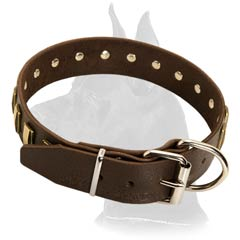 Wide Great Dane Leather Dog Collar
