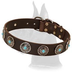 Great-Dane-Breed-Leather-Collar-With-Silver-Circles-small