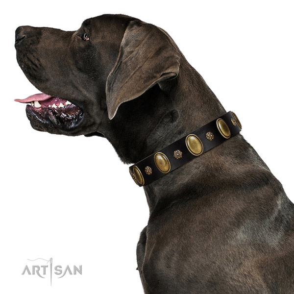 Easy wearing soft natural genuine leather dog collar with studs