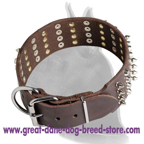 Leather Collar for Great Dane with 4 Rows of Spikes and Pyramids