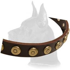 Great Dane Leather Dog Collar with strong fittings