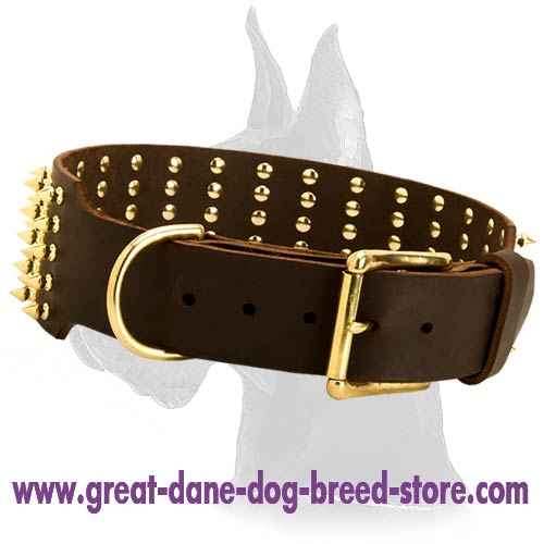 Super Wide Spiked Collar with Traditional Buckle and D-ring