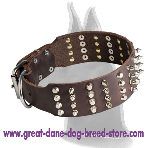 Extra Wide Leather Collar with Spikes and Pyramids for Great Dane