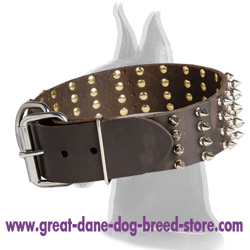 Leather Collar for Great Dane with 4 Rows of Spikes