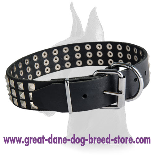 Wide Leather Collar with Pyramids for Great Dane