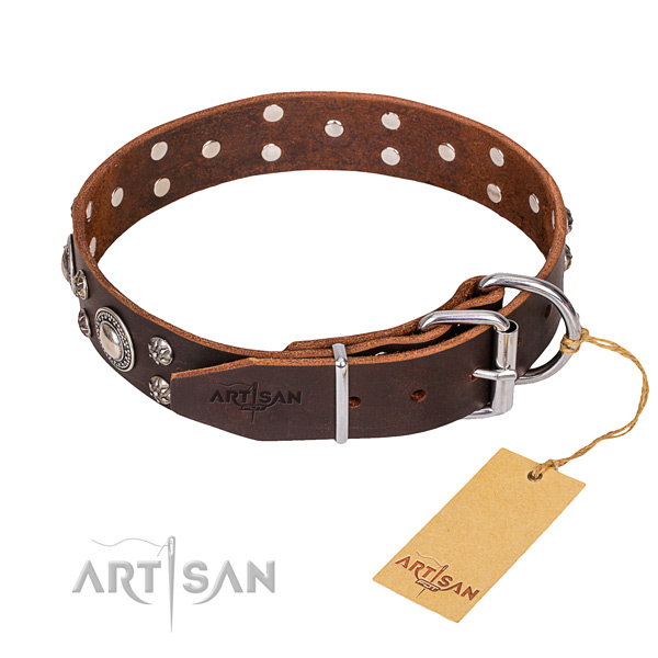 Functional leather collar for your darling canine
