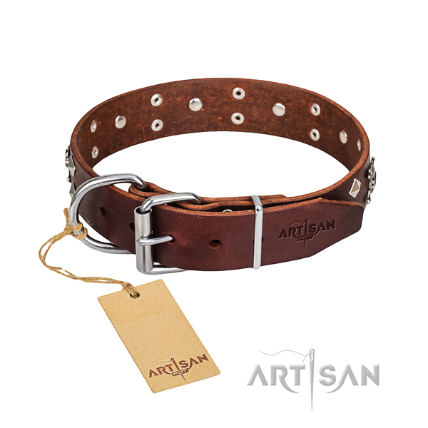 Indestructible leather dog collar with reliable elements