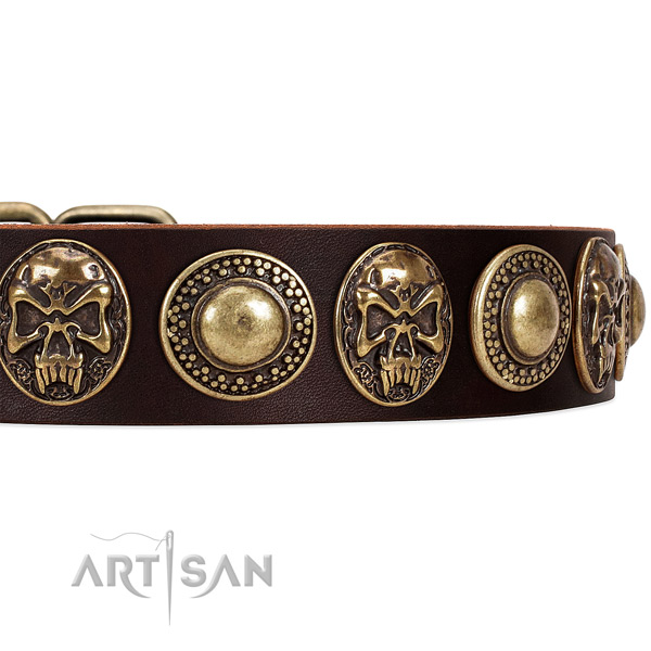 Full grain leather dog collar with adornments for easy wearing