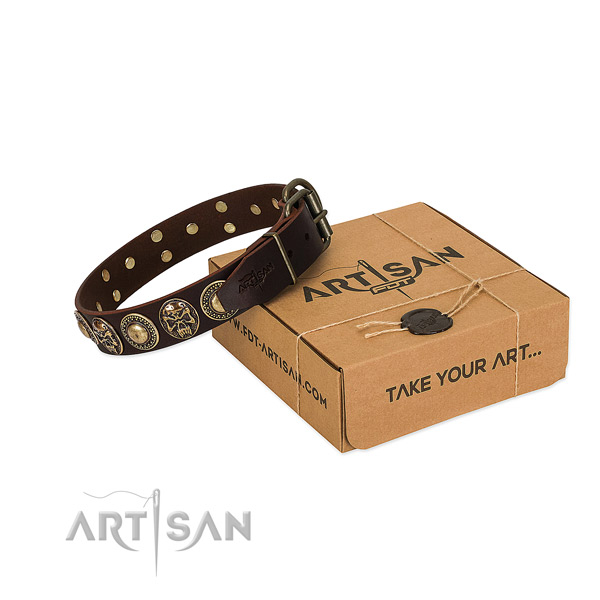 Studded full grain genuine leather dog collar for comfortable wearing