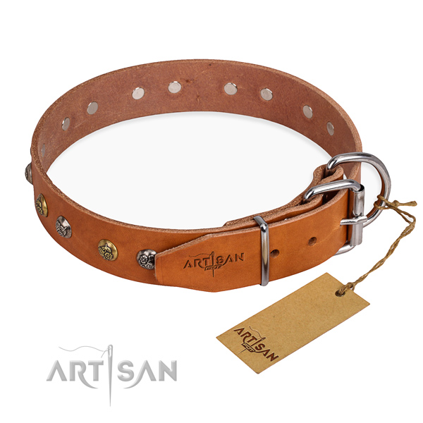 Genuine leather dog collar with top notch rust-proof adornments