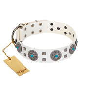 """Blue Sapphire"" Designer FDT Artisan White Leather Great Dane Collar with Round Plates and Square Studs"