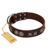 """Antique Style"" Designer Handmade FDT Artisan Brown Leather Great Dane Collar"