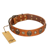 """Call of Feat"" FDT Artisan Tan Leather Great Dane Collar with Old Bronze-like Studs and Oval Brooches"